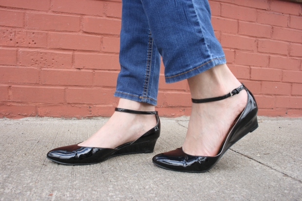 Halogen Bianca Black Patent Leather Wedge