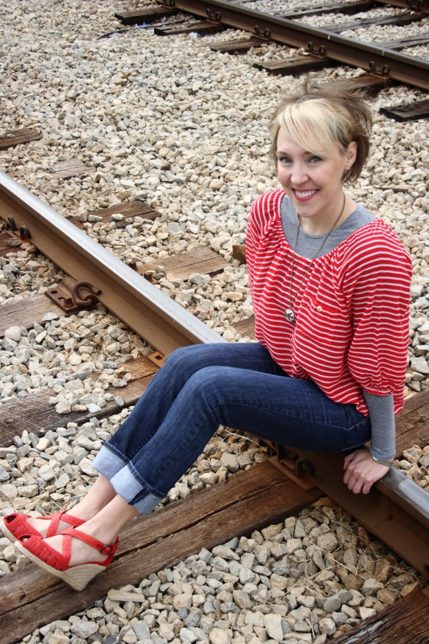 Red, White & Blue on RTA Tracks sitting