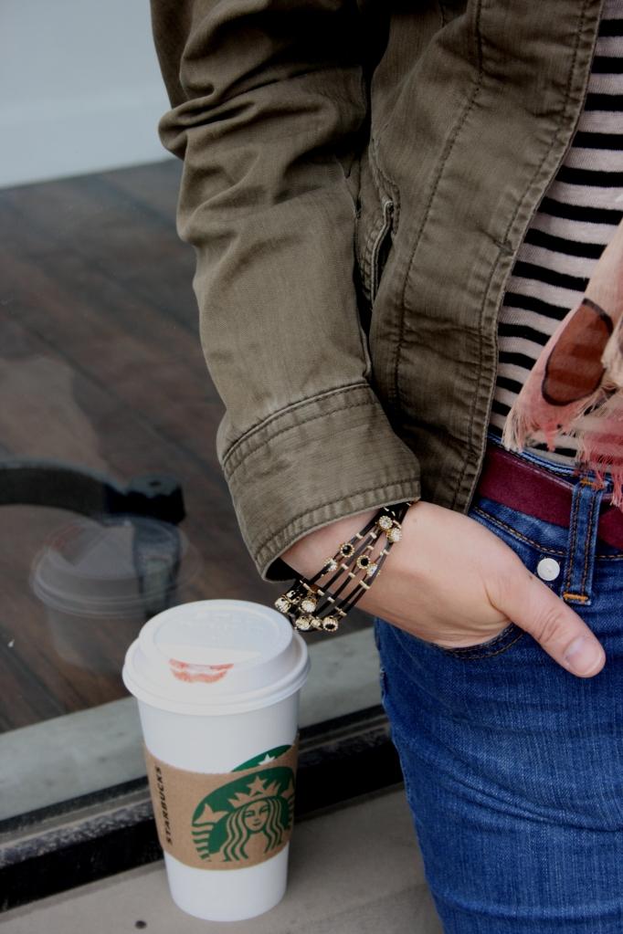 Eddie Bauer Field Jacket and Starbucks