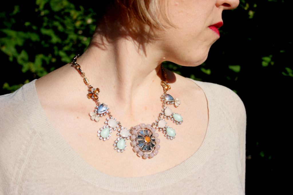 MOTH Sweather, Anthropologie Necklace, MAC-Perpetual Flame