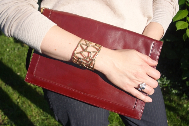 MOTH Sweather, LUcky Brand Cuff, Silpada Wine Flight Ring, Vintage Lou Taulor Clutch