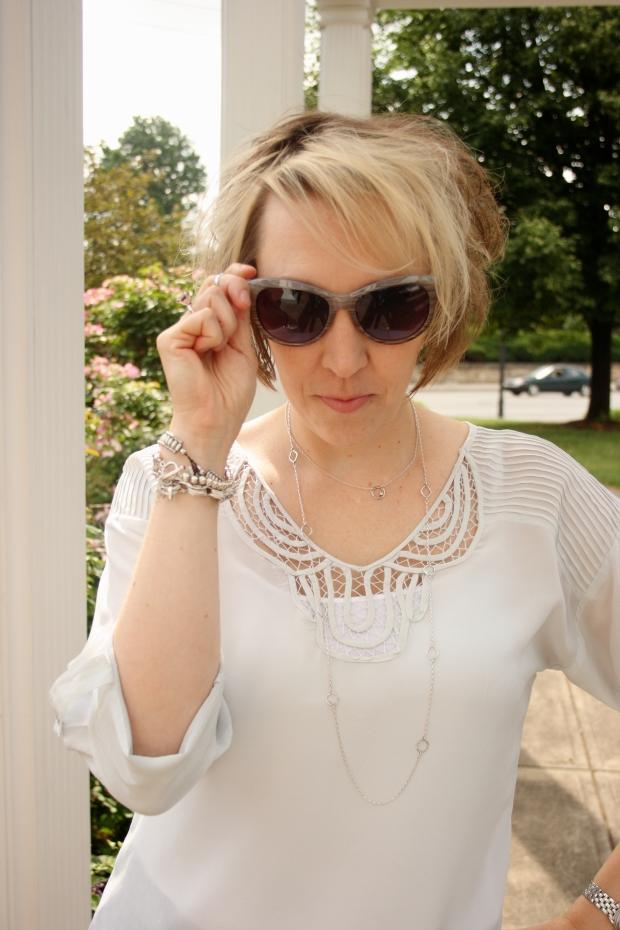 Rainn Silk Blouse, Gucci Watch, Enzo Angiolini Suede Wedge, Silpada Jewelry