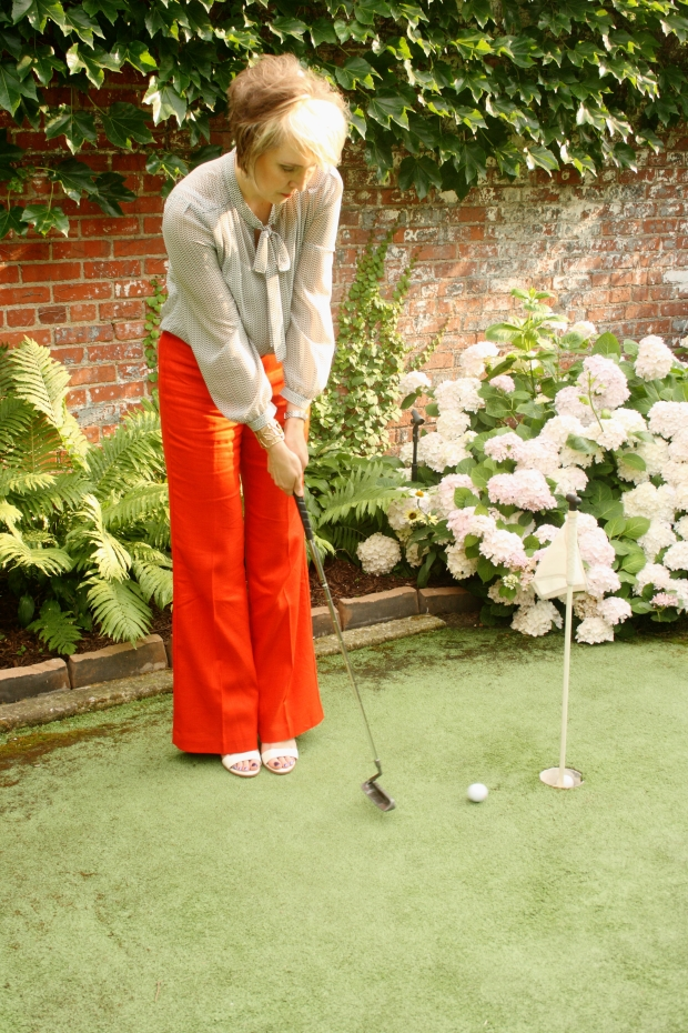 The Velvet Tango Room Patio, elevenses linen pant, pleione blouse